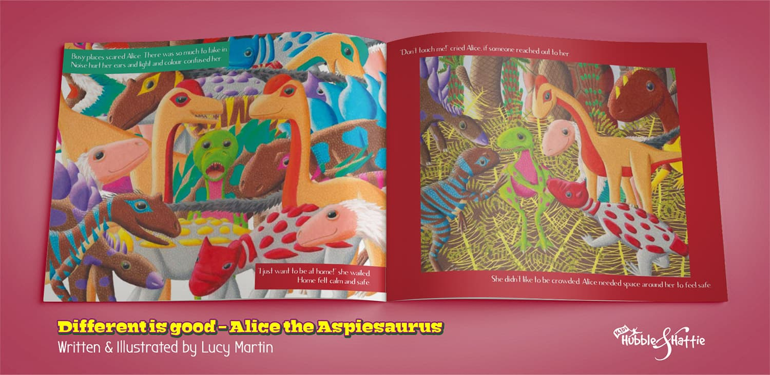 Different is good. Alice the Aspiesaurus sample spreads.